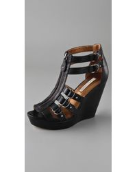 Twelfth Street Cynthia Vincent | Black Jagger Zip Front Wedge Sandals | Lyst
