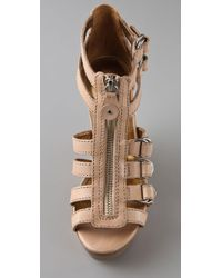 Twelfth Street Cynthia Vincent - Natural Jagger Zip Front Wedge Sandals - Lyst