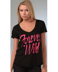 Wildfox - Black Forever Wild V Neck Tee - Lyst