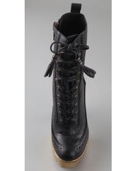 William Rast | Black Perforated Lace Up Booties | Lyst