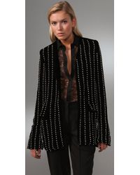 Alexander Wang - Black Collarless Velvet Blazer with Pearl Embroidery - Lyst