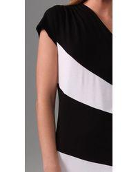 Alice + Olivia | White Striped Skye One Shoulder Dress | Lyst