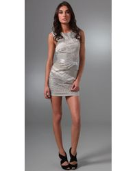 Alice + Olivia - Gray Vanda Bandage Shift Dress - Lyst