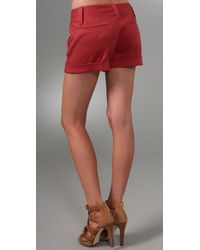 Alice + Olivia - Red Cady Cuff Shorts - Lyst