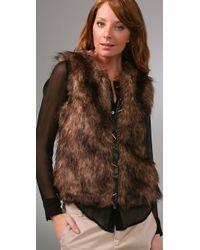 BB Dakota - Brown Ashland Faux Fur Vest - Lyst