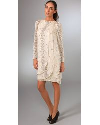 Brian Reyes - Natural People-print Silk Tulip Dress - Lyst