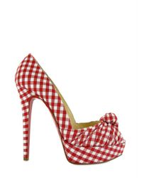 Christian Louboutin | Red 140 Canvas Greissimo Peep Vichy Pumps | Lyst