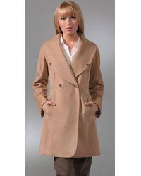 Club Monaco - Natural Vera Coat with Faux Fur Collar - Lyst