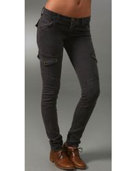 Current/Elliott | Gray The Skinny Cargo Low-rise Jeans | Lyst