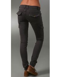 Current/Elliott - Gray The Skinny Cargo Low-rise Jeans - Lyst