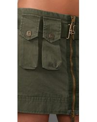 DSquared² - Green Cotton Canvas Mini Military Skirt - Lyst
