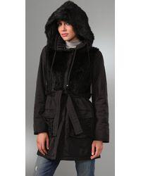 Elie Tahari - Black Sutton Coat with Fur - Lyst
