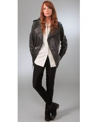 Elizabeth and James - Black Boyfriend Biker Leather Jacket - Lyst