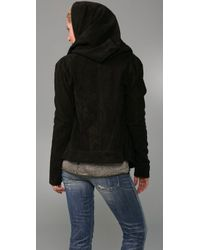 Elizabeth and James - Black Draped Hooded Suede Jacket - Lyst