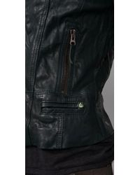 Ever - Green Langdale Leather Motorcycle Jacket - Lyst