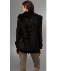GAR-DE | Black Joffre Curly Fur Coat with Leather Sleeves | Lyst