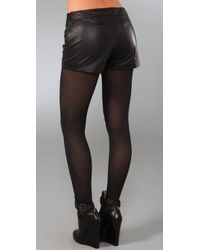 Halston - Black Leather Hot Pants - Lyst