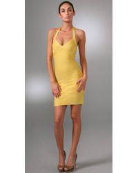 Hervé Léger | Yellow Signature Essentials Halter Cocktail Dress | Lyst