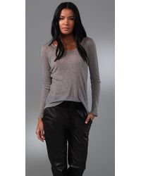 HHH by Haute Hippie | Gray Whisper Rib Long Sleeve Tee | Lyst