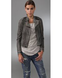 IRO | Gray Distressed Leather Jacket | Lyst