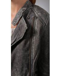 IRO - Gray Distressed Leather Jacket - Lyst