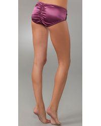La Fee Verte | Purple Silk & Lace Boy Shorts | Lyst