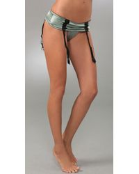 La Fee Verte | Metallic Silk & Lace Garter Thong | Lyst