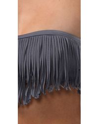 L*Space   Gray Dolly Fringe Bandeau Bikini Top   Lyst