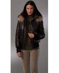 Mackage | Black Annie Puffy Leather Jacket with Fur Hood | Lyst
