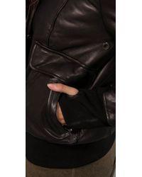 Mackage - Black Annie Puffy Leather Jacket with Fur Hood - Lyst
