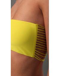 Mikoh Swimwear - Yellow Corsica String Back Bikini Top - Lyst