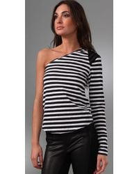 Pencey | Black Striped One Shoulder Top | Lyst