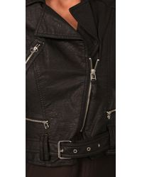 Plastic Island - Black Cropped Faux Leather Moto Jacket - Lyst