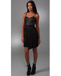 Rag & Bone | Black Francis Leather and Linen-blend Dress | Lyst