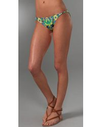 Shoshanna - Green Indigo Balinese Ikat Print Side Ring Bikini Bottom - Lyst