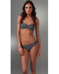 Shoshanna - Gray Solid U Bandeau Bikini Top - Lyst
