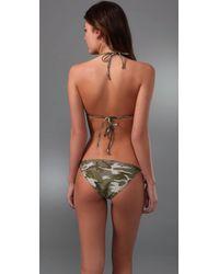 Splendid - Green Camo Sweetheart Bikini Top - Lyst