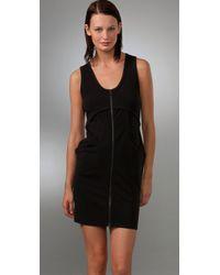 T By Alexander Wang - Black Ponte Zip Dress - Lyst