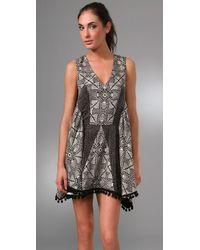 Thakoon - Black Patchwork Dress with Pom Pom Trim - Lyst