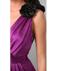 Thread Social | Purple Sheer-back Hammered-silk Dress | Lyst