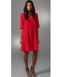 Tucker | Red Story Of Passion Tie Neck Dress | Lyst