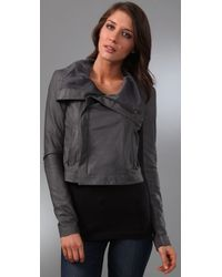 VEDA - Gray Max Classic Leather Jacket - Lyst