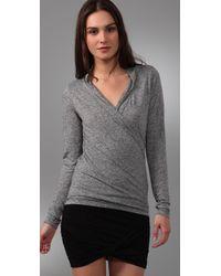 Velvet By Graham & Spencer | Gray Samara Draped Wrap Shirt | Lyst