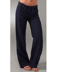 Vince | Blue Linen Drawstring Pant | Lyst