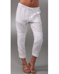 Vince | White Drawstring Cropped Linen Pants | Lyst