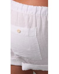 Vince | White Drawstring Linen Shorts | Lyst