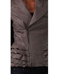 William Rast - Gray Ruffle Leather Jacket - Lyst