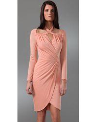 3.1 Phillip Lim | Pink Cross Collar Faux Wrap Dress | Lyst