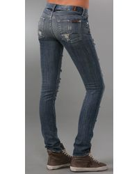 7 For All Mankind | Blue Roxanne Celeb Skinny Jeans | Lyst