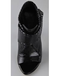 Alexander Wang - Black Cecilia Whipstitched Patent Bootie - Lyst